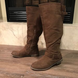 JustFab Faux Suede Wide-Calf Boots Size 10